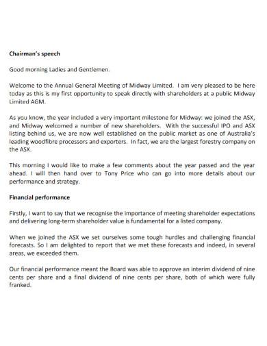 chairman's opening speech