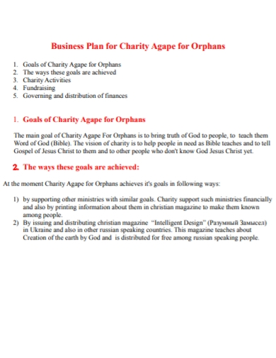 charity business plan for orphans