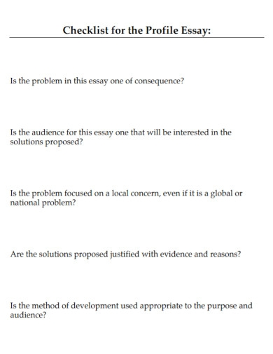 checklist for the profile essay1