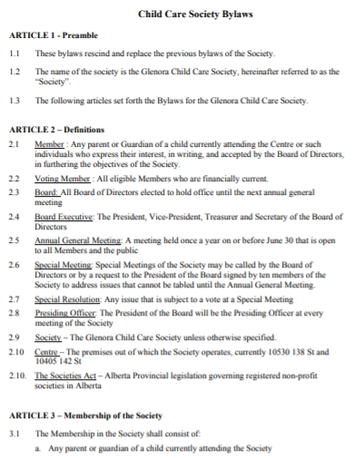 child day care society bylaws