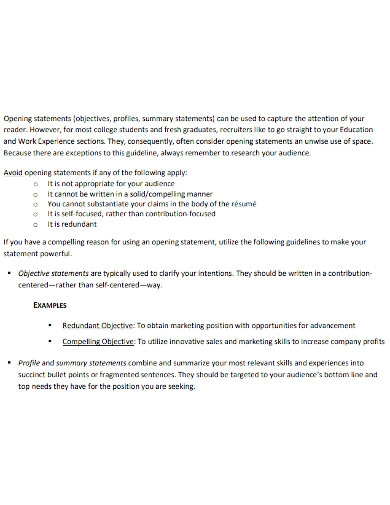 chronological resume opening statement