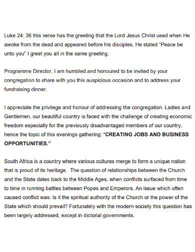 church fundraising speech