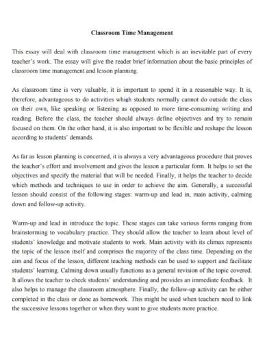 classroom time management essay