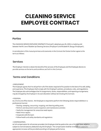 cleaning service employee contract template