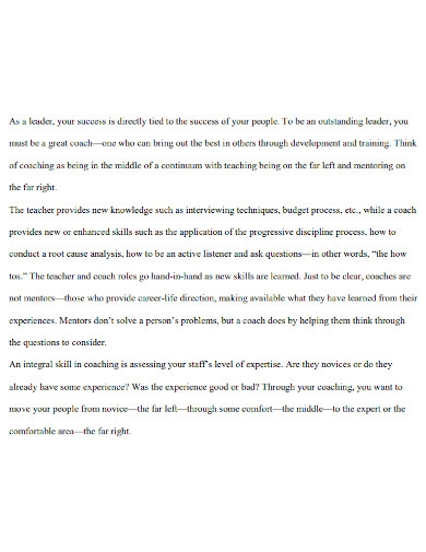 coaching experience essay