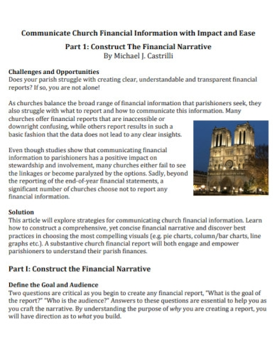 communicate church financial report