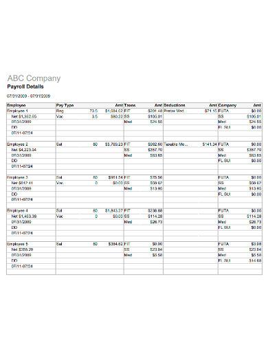 company payroll report