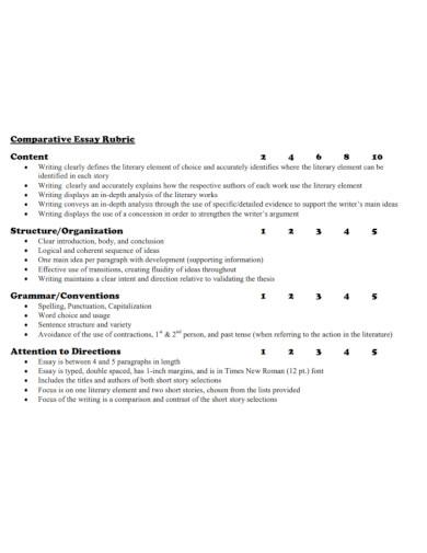 comparative analysis essay rubric