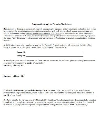 comparative analysis worksheet essay