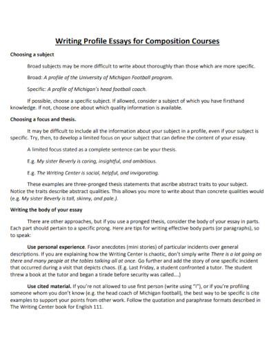 composition courses profile essay