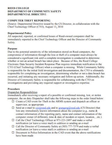 computer theft investigation report