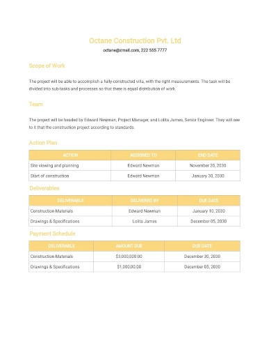 construction project scope statement template