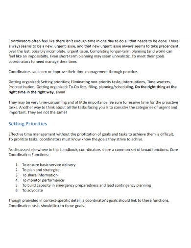 coordinators time management goal