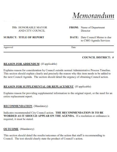 council memorandum report