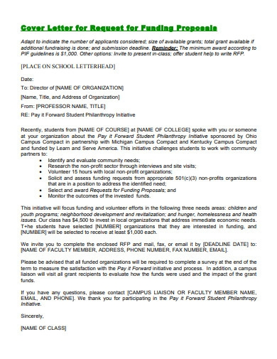 cover letter for request for funding proposals