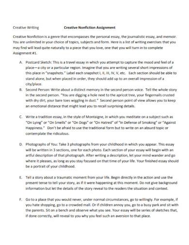 creative nonfiction assignment essay
