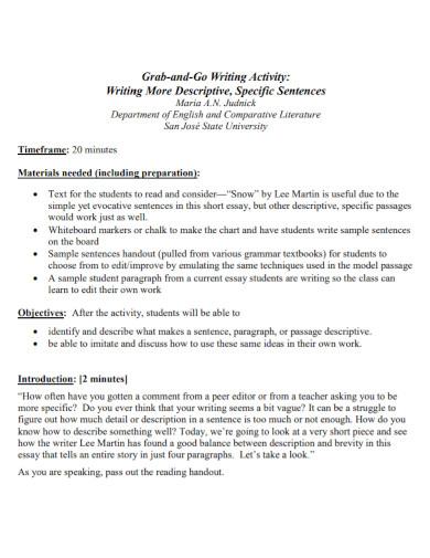 descriptive activity writing