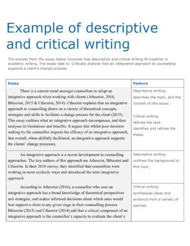 descriptive critical writing