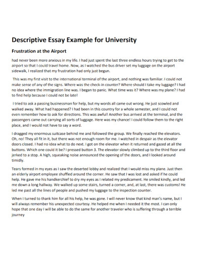 descriptive essay for university