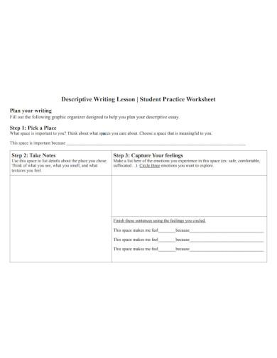 descriptive writing lesson