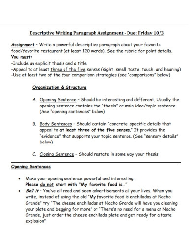 descriptive writing paragraph assignment1