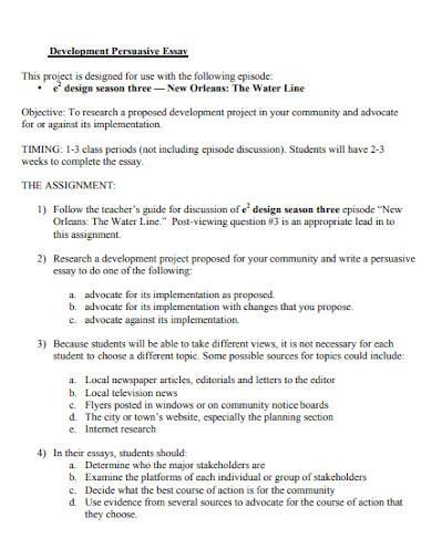 development persuasive essay for students
