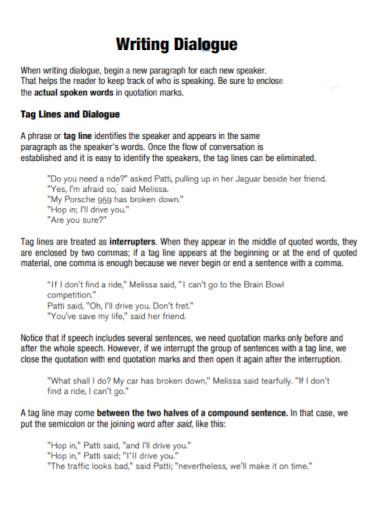 dialogue writing template