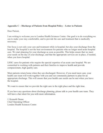 discharge letter to patients from hospital