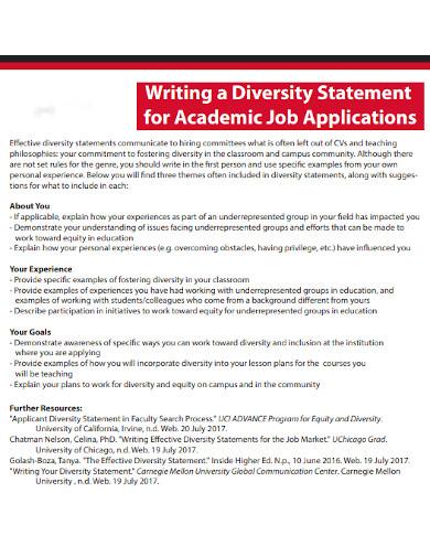 diversity statement for academic job application