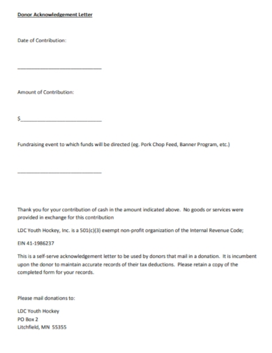 donor contribution acknowledgment letter template
