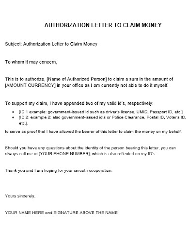 editable authorization letter to claim money