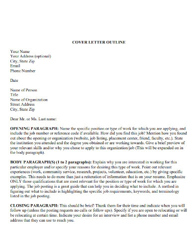 editable cover letter outline