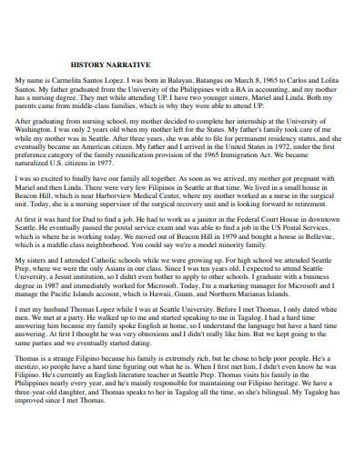 editable narrative history essay