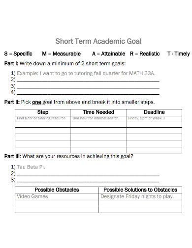 editable short term academic goals