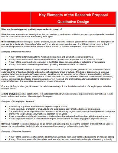 elements of research proposal qualitative design
