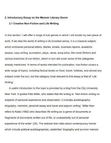 essay on the memoir literary genre