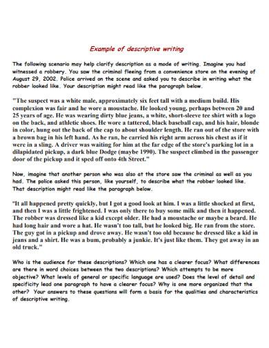 example of descriptive writing