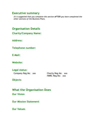 executive summary charity business plan