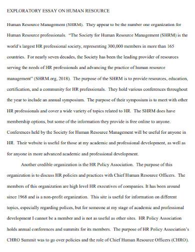 exploratory essay on human resources