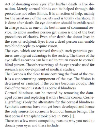 eye donation speech