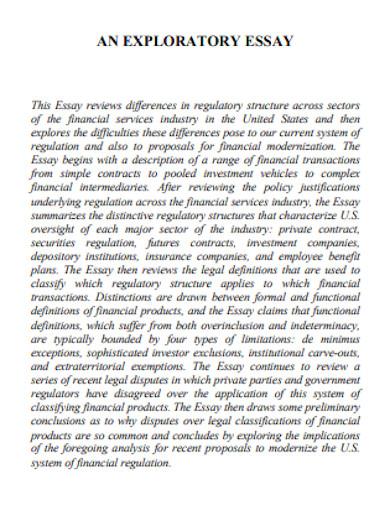 financial services exploratory essay