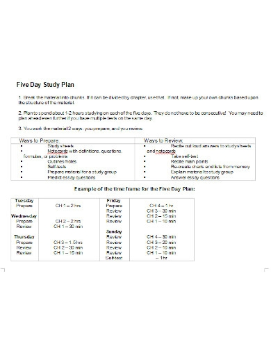 five day study plan in doc