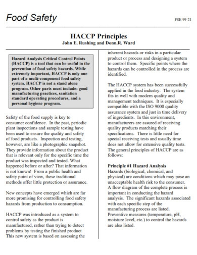 food safety haccp principles plans