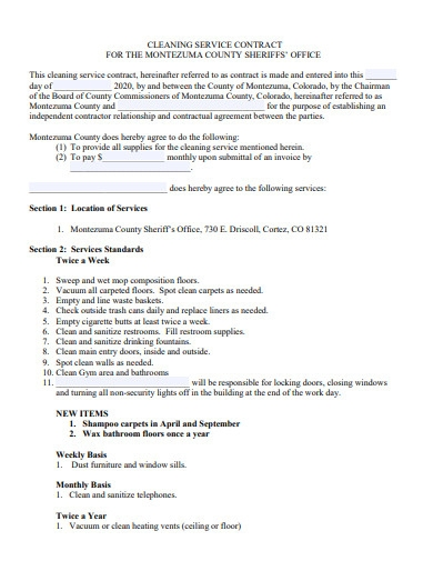 formal cleaning service contract