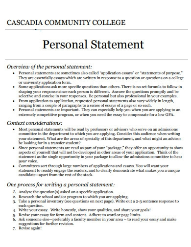formal college application personal statement