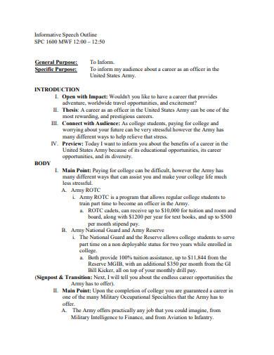formal informative speech outline