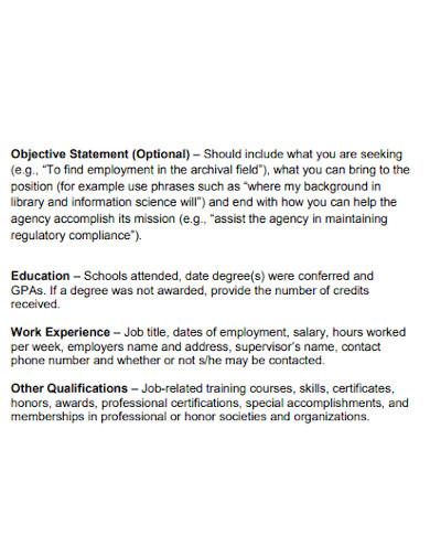 formal resume opening statement