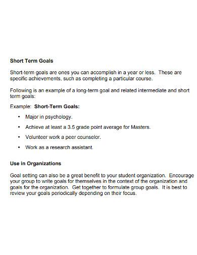formal short term academic goals