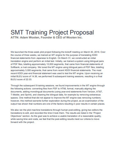 formal training project proposal