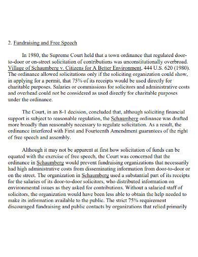 fundraising organization speech